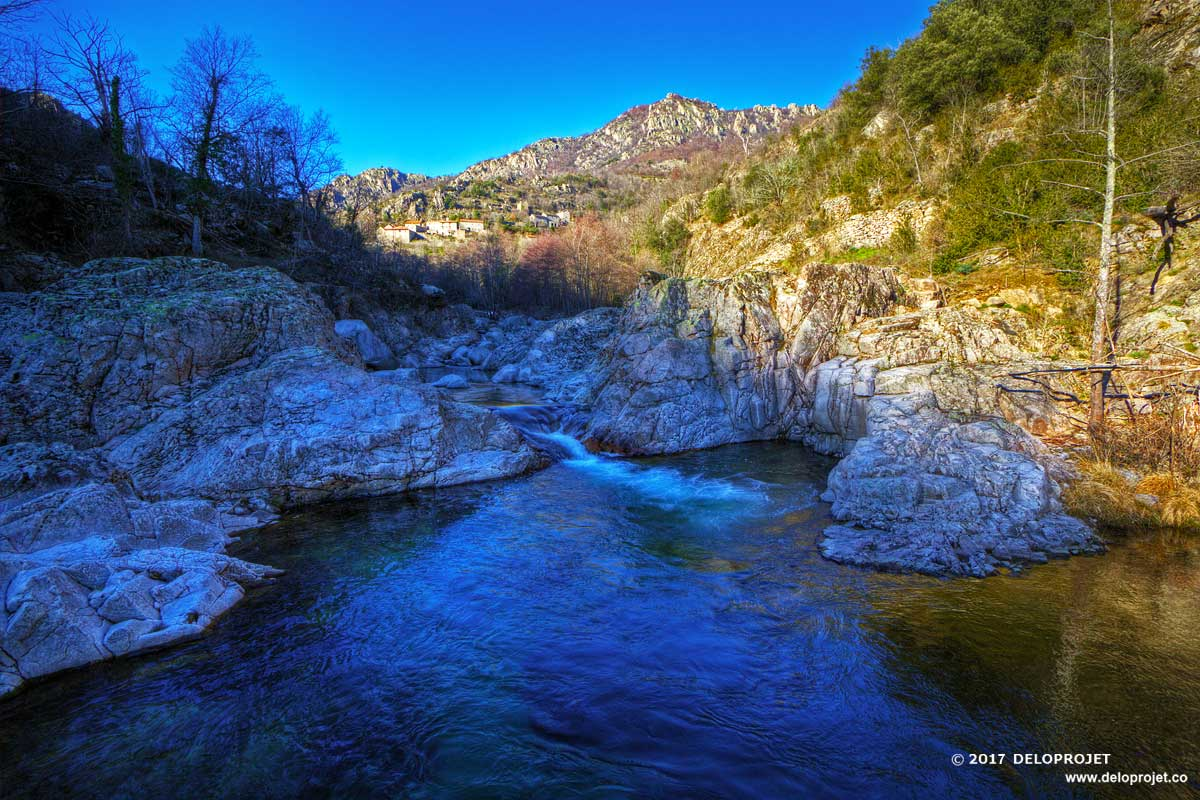 The Gorges du Chassezac a remarkable landscape of granitic rock and the river