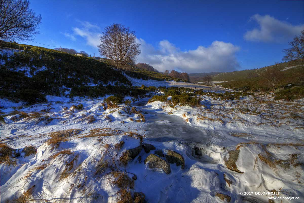 Snowstorm on the Bouzedes trail in the Cevennes National Park